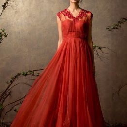 Cardinal red anarkali gown in tulle - Shyamal and Bhumika New Collection 2015 - A Little Romance - Autummn-Winter Collection 2015