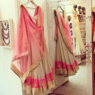 Chanderi brocade ivory and fuchsia pink light lehenga