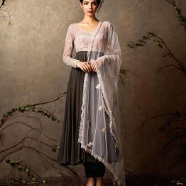Chocolate brown anarkali with ivory yoke and pink embroidery - Shyamal and Bhumika New Collection 2015 - A Little Romance - Autummn-Winter Collection 2015