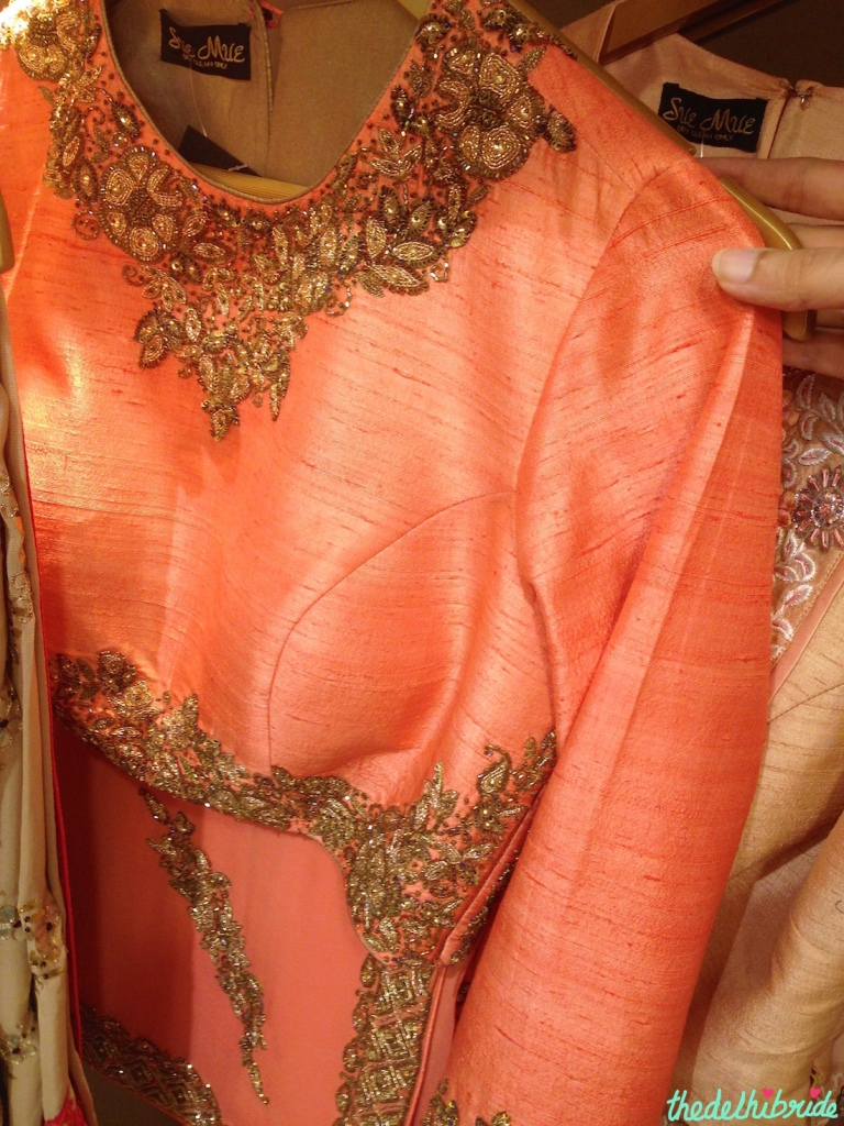 Coral orange embroidered blouse - Sue Mue store visit