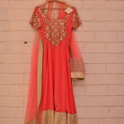 Coral pink anarkali with mirror work on yoke