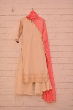 Cream kurta and palazzos with bubblegum pink dupatta