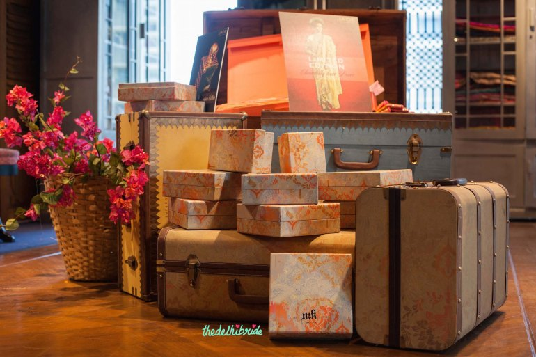 Cream trousseau trunks - wedding props - New JADE M&K Couture Studio - Mumbai Review