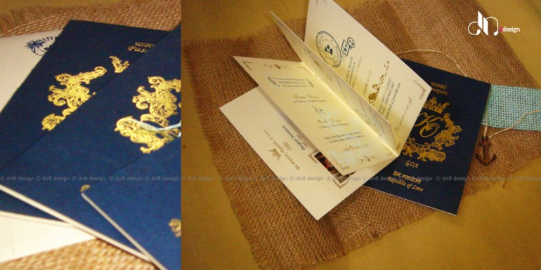 DN8 - Unique wedding card ideas - Blue passport wedding invites to destination weddings - Best of weddings this week