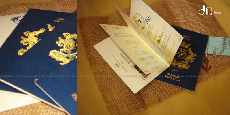 DN8 - Unique wedding card ideas - Blue passport wedding invites to destination weddings - Best of weddings this week