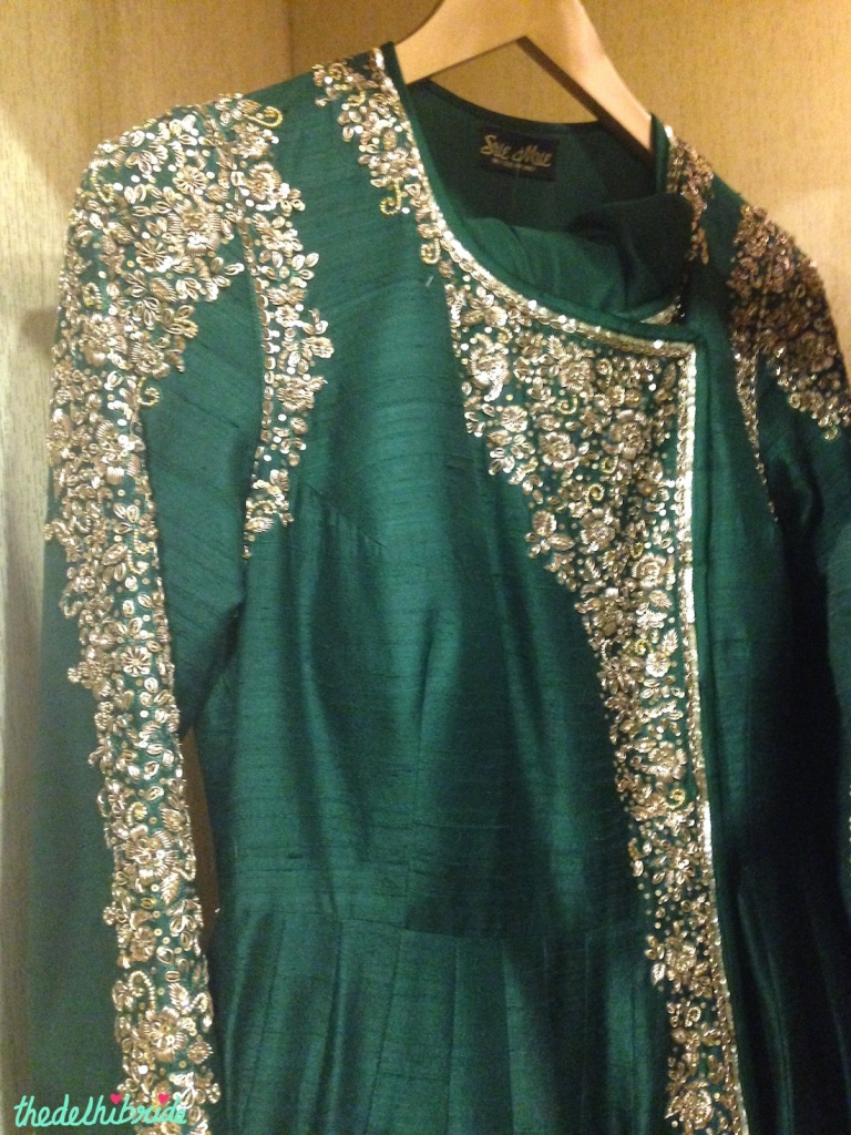 Emerald green anarkali with silver embroidery - Sue Mue store visit
