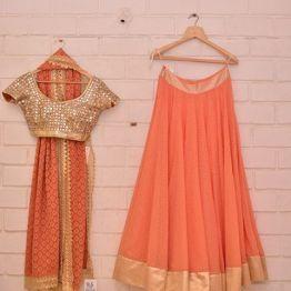 Gold heavy sequin blouse and peachy orange lehenga