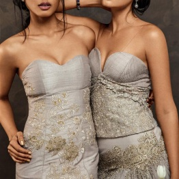 Grey corsets with Silver and Grey embroidery - Shyamal and Bhumika New Collection 2015 - A Little Romance - Autummn-Winter Collection 2015