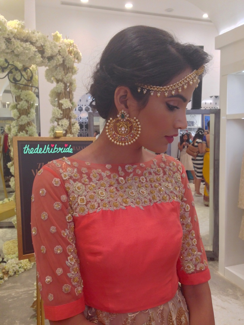 Stunning earrings and matha patti by Hazoorilal Legacy