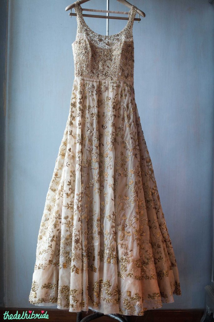 Heavily embroidered anarkali with floral gold work - New JADE M&K Couture Studio - Mumbai Review