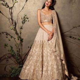 Heavily embroidered champagne gold and ivory lehenga set - Shyamal and Bhumika New Collection 2015 - A Little Romance - Autummn-Winter Collection 2015
