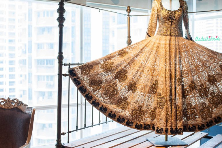 Heavily embroidered ivory lehenga on display at JADE - New JADE M&K Couture Studio - Mumbai Review
