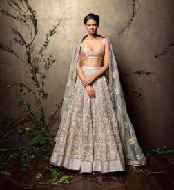 Heavily embroidered lilac & grey lehenga with baby pink sequinned blouse and pale blue embroidered dupatta - Shyamal and Bhumika New Collection 2015 - A Little Romance - Autummn-Winter Collection 2015