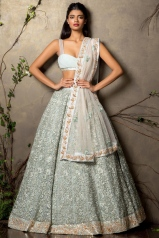 Heavily embroidered pale blue lehenga with floral embroidery and bikini blouse 2 - Shyamal and Bhumika New Collection 2015 - A Little Romance - Autummn-Winter Collection 2015