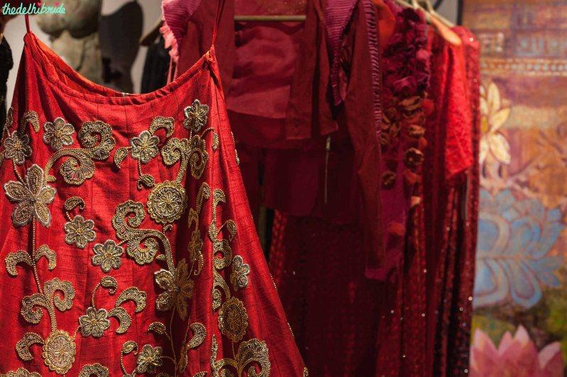Heavily embroidered red lehenga - details - New JADE M&K Couture Studio - Mumbai Review