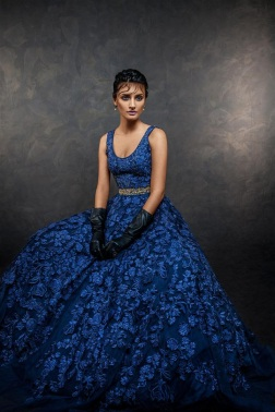 Ink Blue Gown with Floral Patchwork - Shyamal and Bhumika New Collection 2015 - A Little Romance - Autummn-Winter Collection 2015