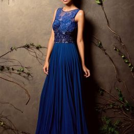 Ink blue gown with heavily embroidered yoke - Shyamal and Bhumika New Collection 2015 - A Little Romance - Autummn-Winter Collection 2015