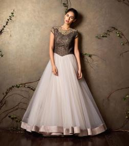 Ivory princess gown in tulle with chocolate brown yoke - Shyamal and Bhumika New Collection 2015 - A Little Romance - Autummn-Winter Collection 2015