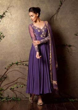 Lavender anarkali with lightly embroidered yoke - Shyamal and Bhumika New Collection 2015 - A Little Romance - Autummn-Winter Collection 2015