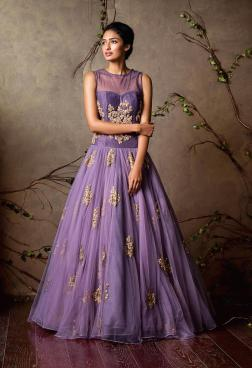 Lavender gown with gold motifs - Shyamal and Bhumika New Collection 2015 - A Little Romance - Autummn-Winter Collection 2015