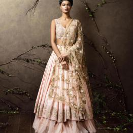 Layered baby pink lehenga with heavily embroidered blouse and sheer dupatta - Shyamal and Bhumika New Collection 2015 - A Little Romance - Autummn-Winter Collection 2015