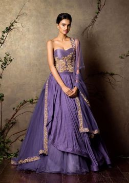 Layered lavender lehenga set with embroidered corset - Shyamal and Bhumika New Collection 2015 - A Little Romance - Autummn-Winter Collection 2015