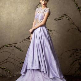 Layered lilac gown with embroidery on yoke - Shyamal and Bhumika New Collection 2015 - A Little Romance - Autummn-Winter Collection 2015