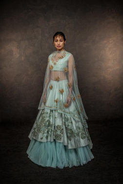 Light blue layered lehenga and sheer cape - Shyamal and Bhumika New Collection 2015 - A Little Romance - Autummn-Winter Collection 2015