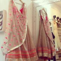 Light striped lehenga in pink and gold