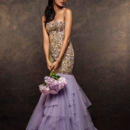 Lilac Fish Tail Gown with gold dust embroidery - Shyamal and Bhumika New Collection 2015 - A Little Romance - Autummn-Winter Collection 2015