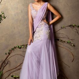 Lilac pre-draped sari with silver gold embroidery - Shyamal and Bhumika New Collection 2015 - A Little Romance - Autummn-Winter Collection 2015