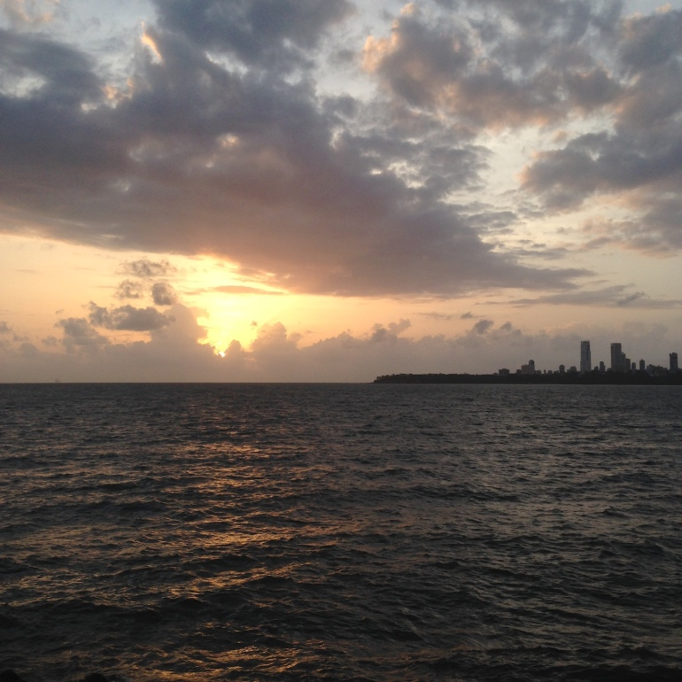 Marine Drive sunset in Mumbai August 2015