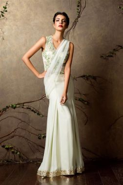 Mint green pre-draped sari with sequinned border - Shyamal and Bhumika New Collection 2015 - A Little Romance - Autummn-Winter Collection 2015