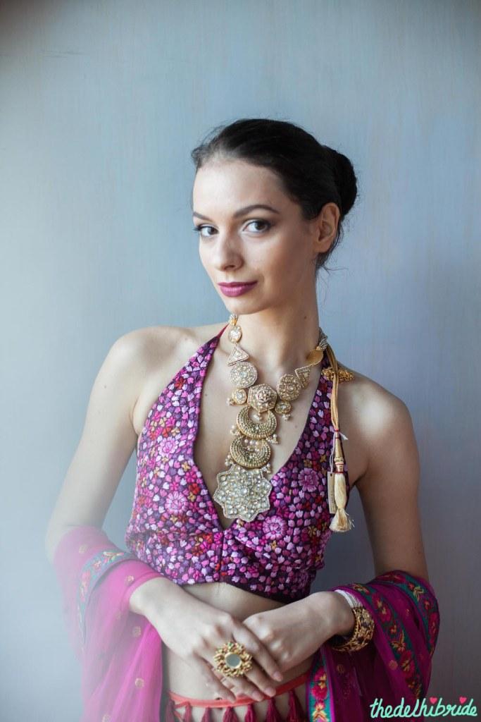 Multi coloured threadwork pink and purple blouse with Bespoke Vintage Jewels neck piece - JADE M&K Couture Studio - Trousseau destination
