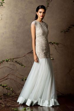 Pale blue gown with embroidered detailing - Shyamal and Bhumika New Collection 2015 - A Little Romance - Autummn-Winter Collection 2015