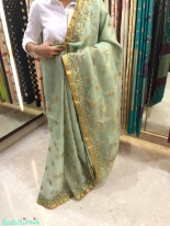 Pale green silk sari with gold embroidery - Vidhi Singhania - store visit