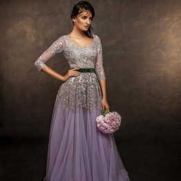 Pale lilac evening gown with embroidered yoke - Shyamal and Bhumika New Collection 2015 - A Little Romance - Autummn-Winter Collection 2015