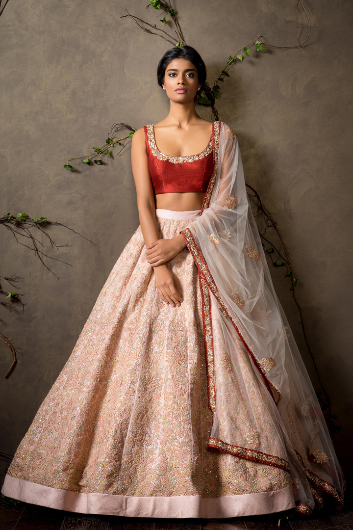 Pale pink lehenga with crimson red blouse shyamal and for Indian wedding dresses usa