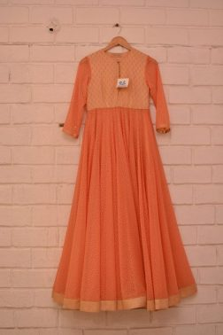 Peachy orange textured anarkali