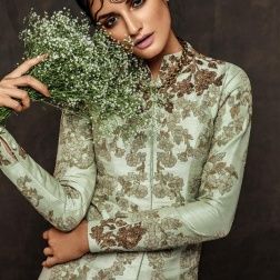 Pistachio green jacket with floral embroidery in gold - Shyamal and Bhumika New Collection 2015 - A Little Romance - Autummn-Winter Collection 2015