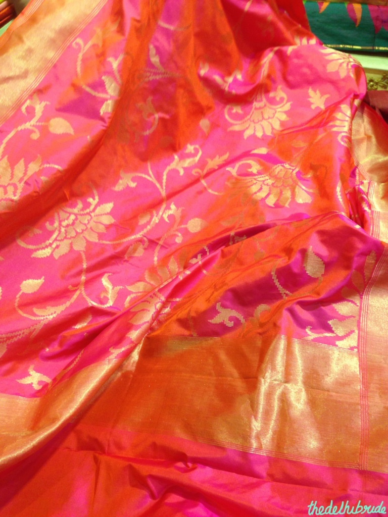 Rani pink and orange silk sari - Sue Mue store visit
