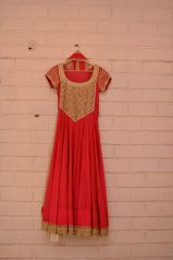 Red anarkali with embroidered yoke