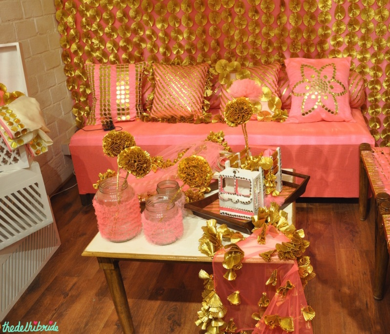 The Rani Pink Room - Pink and Gold Gota Theme Decor - Mehendi Decor - Event Decor - Wedding Decor - Rani Pink