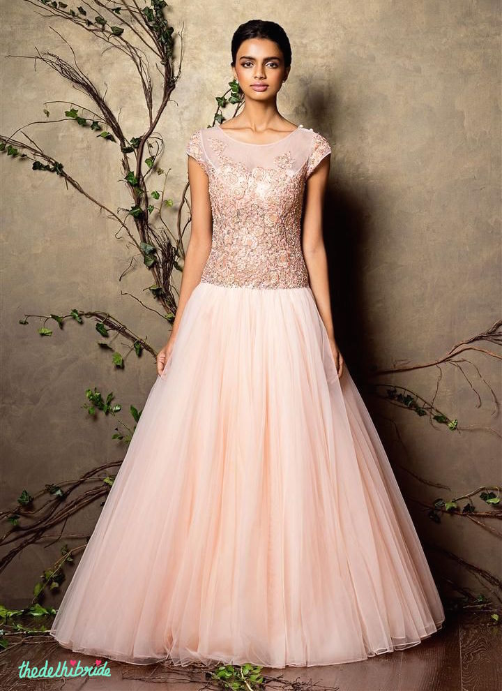 Top Picks Baby pink gown with a heavily embroidered yoke - Shyamal and Bhumika New Collection 2015 - A Little Romance - Autummn-Winter Collection 2015