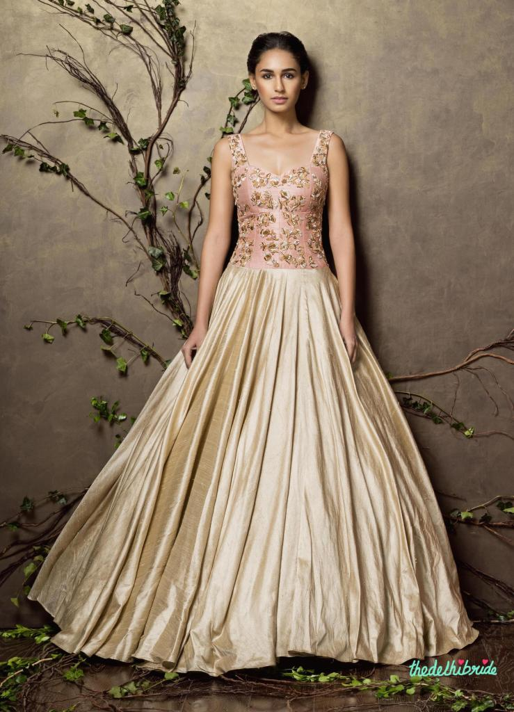 Top Picks Blush pink and champagne gold gown with embroidered yoke - Shyamal and Bhumika New Collection 2015 - A Little Romance - Autummn-Winter Collection 2015