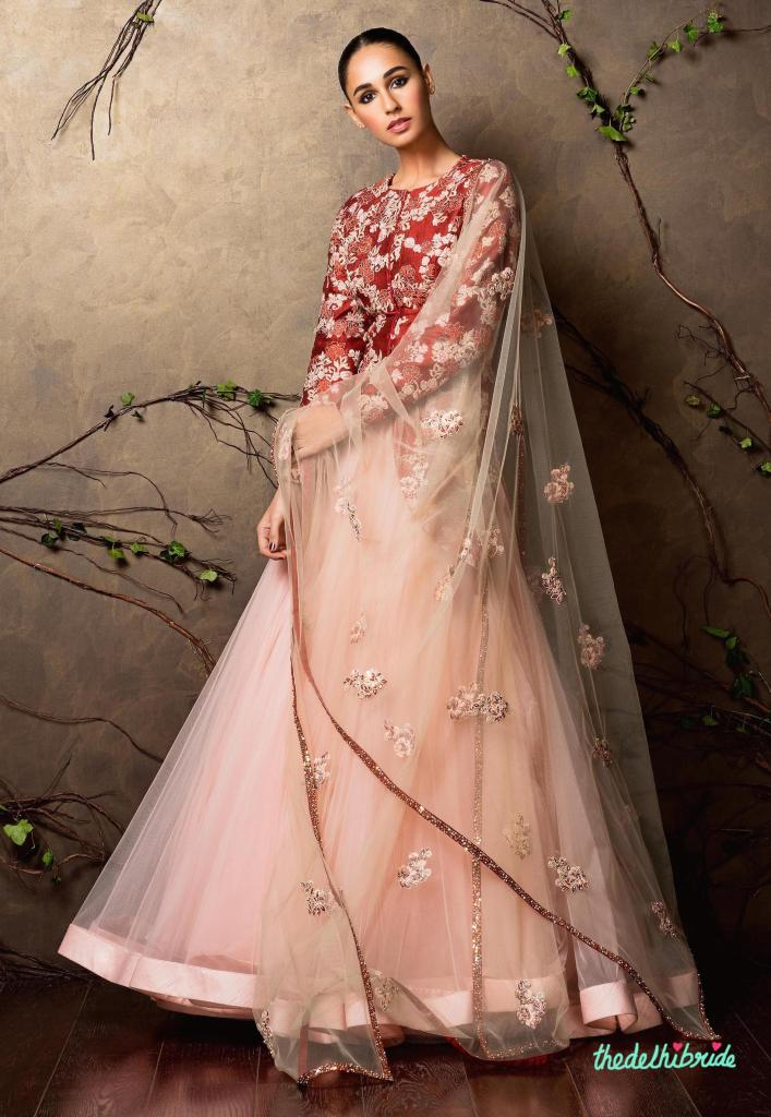 Top Picks Blush pink tulle lehenga with embroidered red blouse - Shyamal and Bhumika New Collection 2015 - A Little Romance - Autummn-Winter Collection 2015