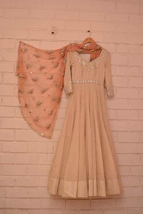 Top Picks - Cream anarkali with 3:4 sleeves and light embellishments paired with peach embellished sheer dupatta - Abhinav Mishra - Best Shahpur Jat boutique designer for bridal wear