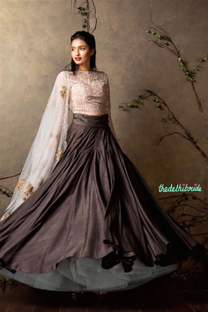 Top Picks Heavily embroidered ivory & pink crop top blouse with chocolate brown lehenga - Shyamal and Bhumika New Collection 2015 - A Little Romance - Autummn-Winter Collection 2015