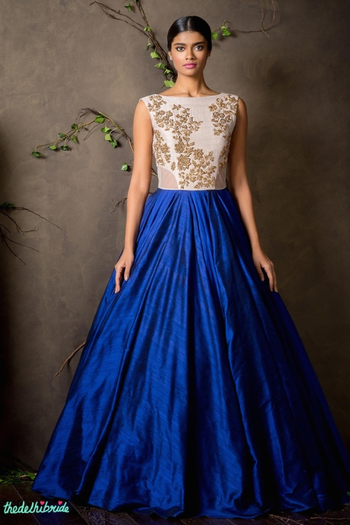 Top Picks Ink blue gown with ivory & gold yoke - Shyamal and Bhumika New Collection 2015 - A Little Romance - Autummn-Winter Collection 2015