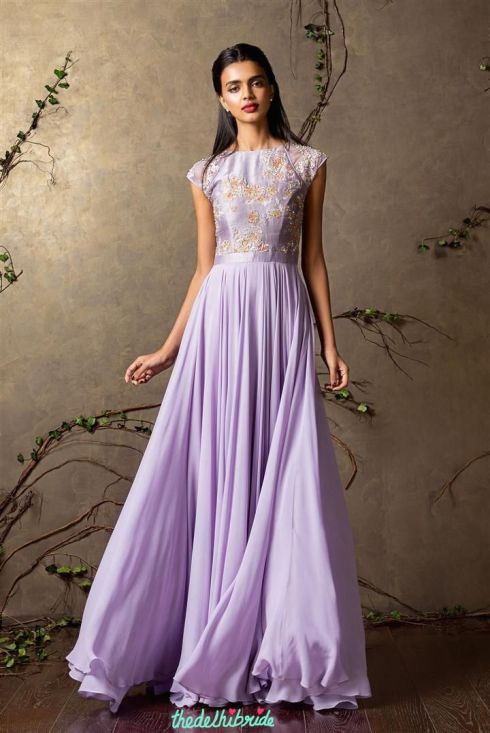 Top Picks Lilac anarkali gown with lightly embellished yoke 1 - Shyamal and Bhumika New Collection 2015 - A Little Romance - Autummn-Winter Collection 2015
